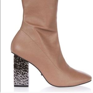 TopShop Leather Booties with Silver heel